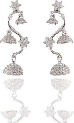 Chaahat Fashion Jewellery Silver Plated Cz Stones Cubic Zirconia Copper Jhumki Earring