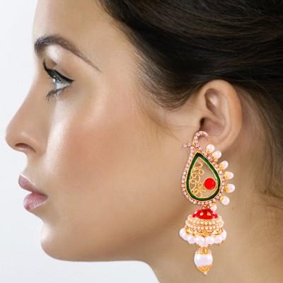 Kraft Central Golden Multicolor Festive Jhumki Pearl Alloy Jhumki Earring, Dangle Earring