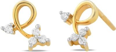 Araanz by Tribhovandas Bhimji Zaveri Delhi Twisted Victory Yellow Gold 18kt Diamond Stud Earring
