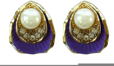 Modish Look Purple Shell Design Brass Stud Earring