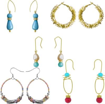 Kenway Retail Panchratna Metal, Glass Earring Set