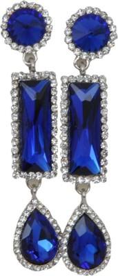 WoW Blue Cubic Zirconia Crystal Drop Earring