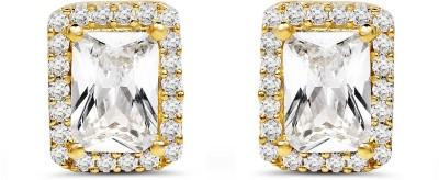 Johareez White Cubic Zirconia Gemstone Gold Plated Brass Earrings Cubic Zirconia Brass Stud Earring