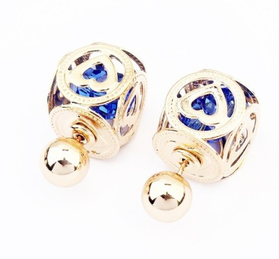 Cilver Fashion Trendy crystal filled double faced Alloy Stud Earring