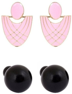Amroha Crafts Girly Pink And Set Alloy Earring Set