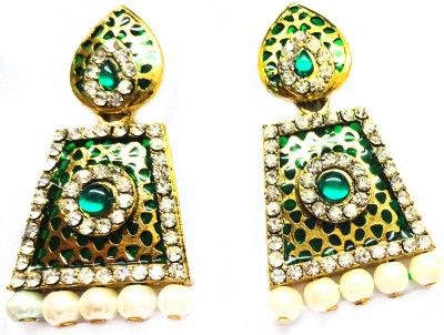 SB Fashions gold plated green earrings Brass Drop Earring