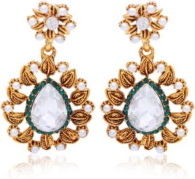 Kraft Central Golden Designer Ethnic Earrings Pearl Alloy Dangle Earring