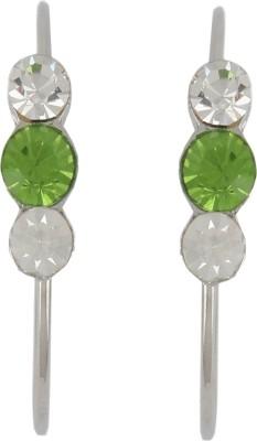 Diovanni Tripple Stone Silver Green Crystal, Alloy Hoop Earring