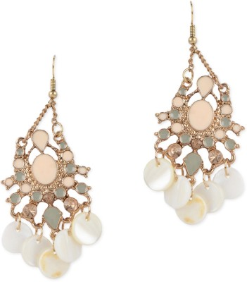 Fayon Peach Rhinestone Alloy, Plastic Dangle Earring
