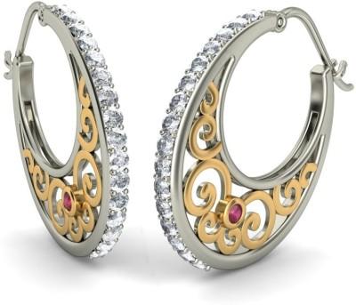 Joyra Pleasing Swarovski Zirconia Sterling Silver Hoop Earring