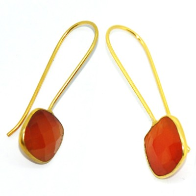 Casa De Plata Chushion Orange Carnelian Brass Earring Carnelian Brass Dangle Earring