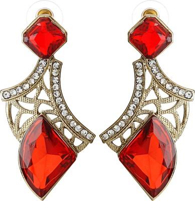 Radius Red Cut Work Zircon Metal Stud Earring