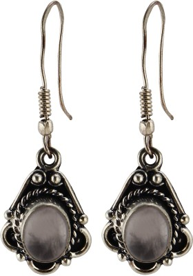 Silver Kreations Natural Rose Quartz Nickel Drop Earring