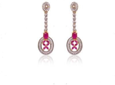 Ratnakar Fashionable Cz Diamond Long Earring With Ruby Stone Alloy Drop Earring