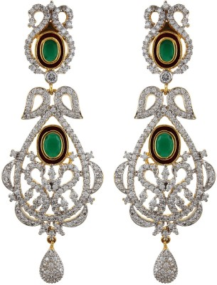 Moda Stella Green Color Stone Cubic Zirconia, Zircon Brass Drop Earring