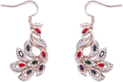 Nevi Peacock Swarovski Crystal Metal, Crystal Dangle Earring