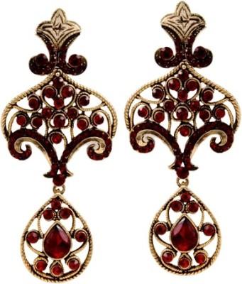 The Fine World Cutwork Studded Zircon Metal Drop Earring