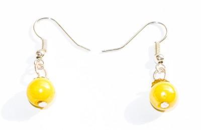 Vikalp Yellow Beaded Alloy Dangle Earring
