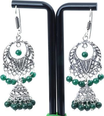 Waama Jewels charming Green Metal Drop Earring