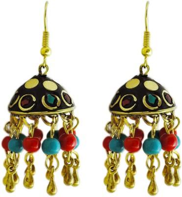 Yogada Antique Indian Handmade12 Brass Jhumki Earring