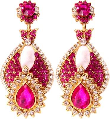 Triumphin Light Weight Rose Crystal Brass Drop Earring