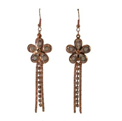 Bandish Rose Gold toned Stone studded Floral Multistranded Metal Dangle Earring
