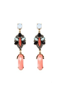 Rudrani Geometric Design Alloy, Crystal Drop Earring