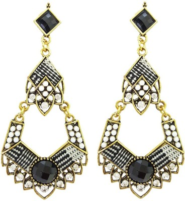 Mehrunnisa Fashion Black & White Crystal Drop For Girls Metal Drop Earring