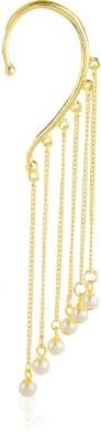 Moedbuille Pearl Encrusted Golden Alloy Cuff Earring