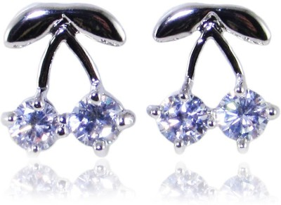 Dolls N Queens Two Cherries Cubic Zirconia Copper Stud Earring