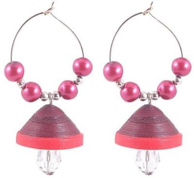 Jyotis Creations Maroon Paper Hoop Earring