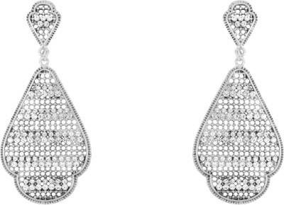 Donna White Floral Decal Crystal Metal Drop Earring