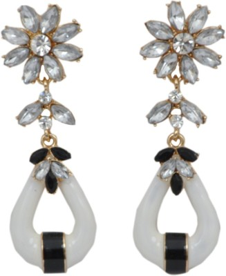 WoW White Resin &Crystal Alloy Drop Earring