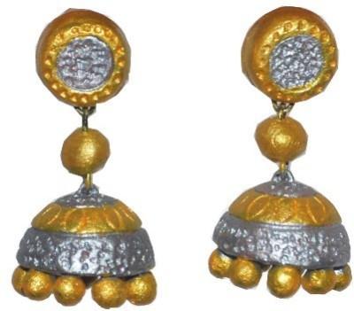 Aanya Creations Terracotta Handmade Fahsion Jewellery Ceramic Jhumki Earring