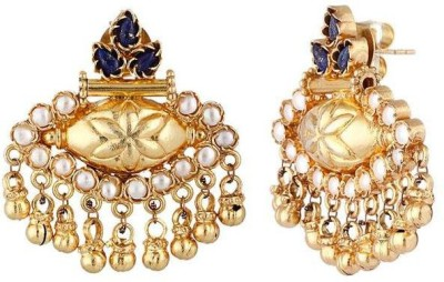 VelvetCase Navy blue semi-precious stone with Pearls Gold Earring Silver Stud Earring
