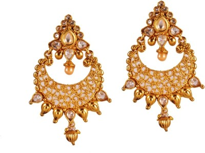 Ratnaraj India Beautiful & Traditional Color Stone And Pearl Copper Chandelier Earring