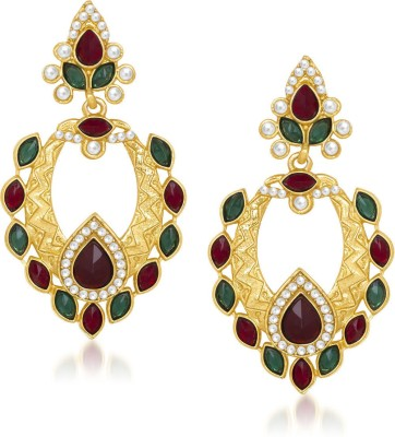 Meenaz Classic Disigner Red And Green Gold Plated Kundan Cubic Zirconia Alloy Drop Earring