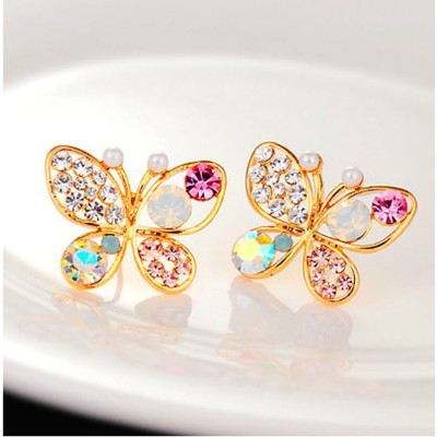 Aadalika Gold Plated Colorful Cystal Simulated Pearl Butterfly Crystal Alloy Stud Earring
