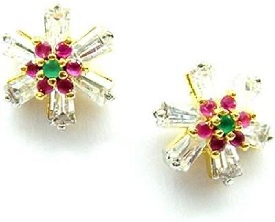 E-Designs TOP76GJ151-295 Cubic Zirconia Brass Stud Earring