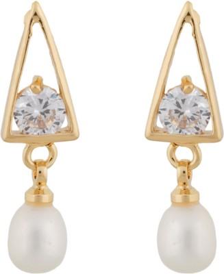 Janki Jewellers Triangular Pearl Alloy Drop Earring