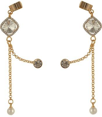 Pankh Diamond Studded Chain Brass Cuff Earring