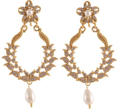 Sewad Elegant Light weight golden with pearl hanging white for girls Copper Chandbali Earring