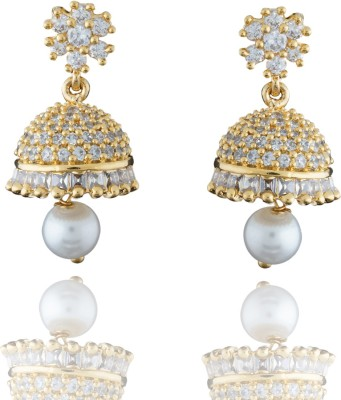 Chaahat Fashion Jewellery Gold Plated With Cz Stones Cubic Zirconia Copper Jhumki Earring
