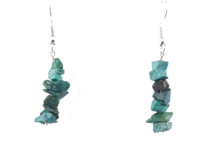 Ear Lobe & Accessories Uncut Terquise Turquoise White Metal Dangle Earring