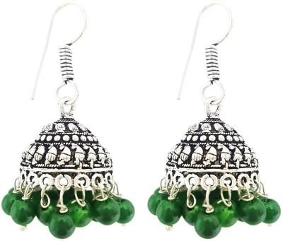 Mehrunnisa Green Beads Metal Jhumki Earring