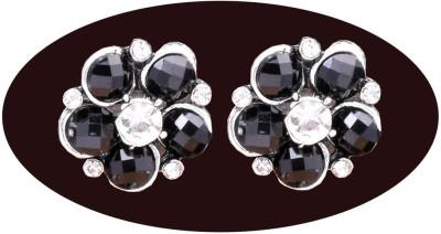 Indian Cheez Big Black Flower with big black stones Earrings Metal Earring Set