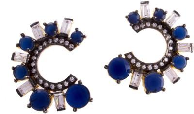 Jahnvi Curved blue Metal Stud Earring