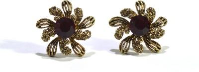 Bluaub Red stone flower Alloy Stud Earring