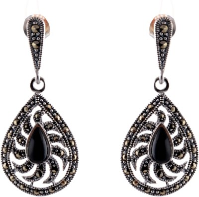Aashirwad Drop Black Stone Silver Drop Earring