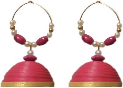 Jyotis Creations Pink And Gold Paper Hoop Earring